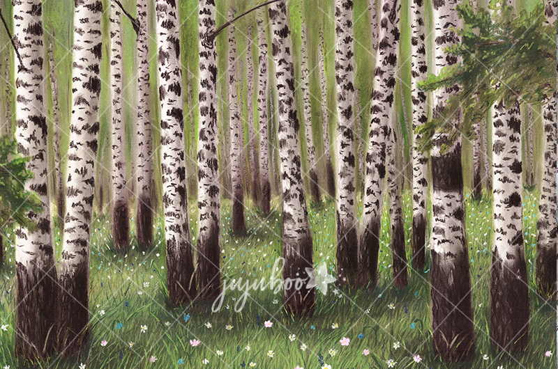 Jujuboo Birch Grove Hand Painted Photography Backdrop