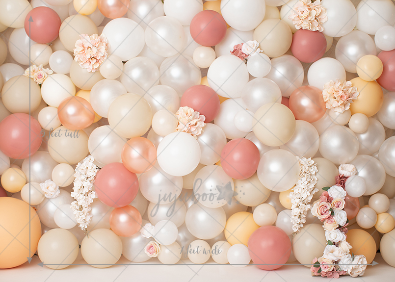 Jujuboo Peach Jubliee Balloon Wall With ONE Photography Backdrop