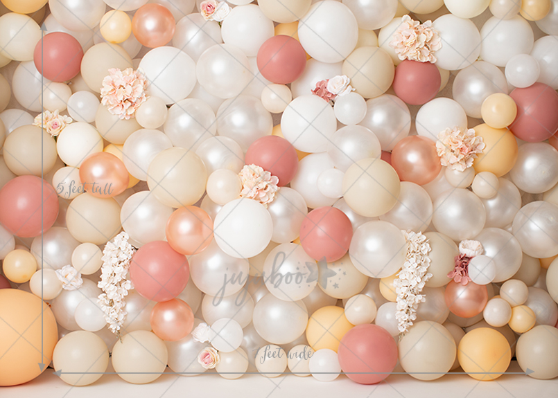 Jujuboo Peach Jubliee Balloon Wall Photography Backdrop