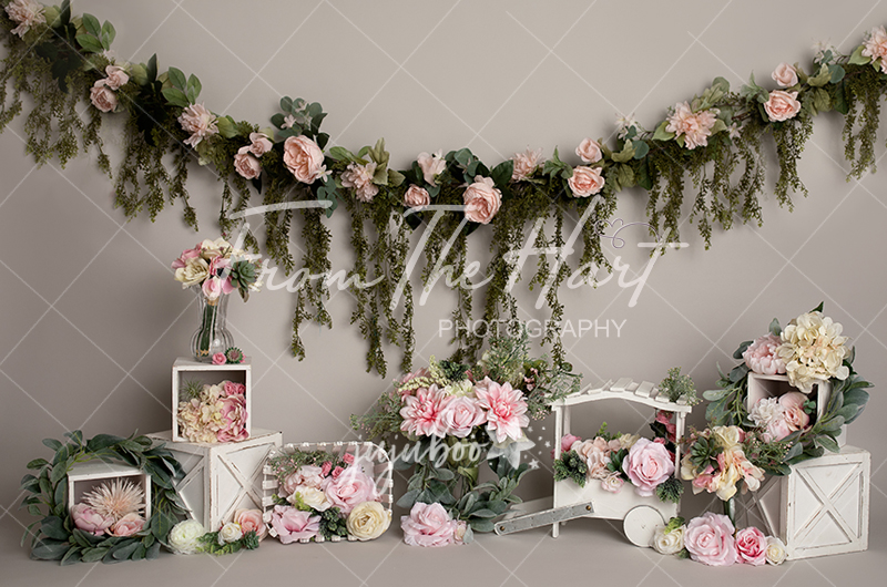 Jujuboo Grey and Pink Garden Photography Backdrop