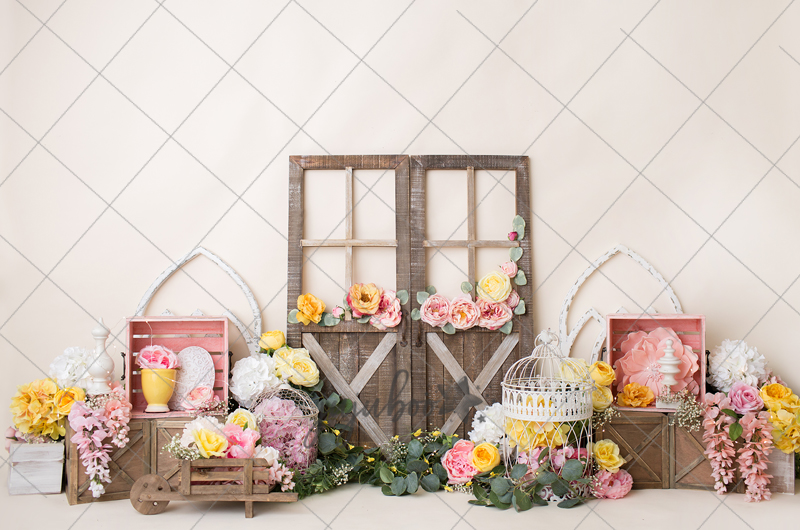 Jujuboo Pink and Yellow Flower Market Photography Backdrop