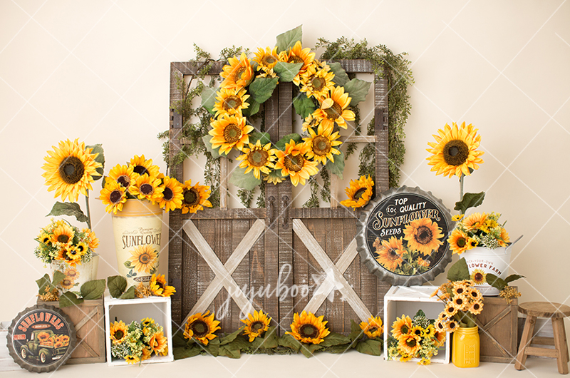 Jujuboo Rustic Sunflower Photography Backdrop