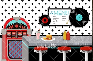 Jujuboo 50's Diner Photography Backdrop