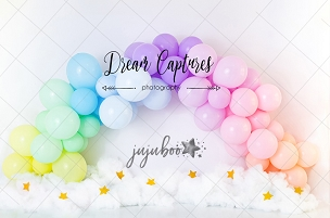 Jujuboo Rainbow Balloons Photography Backdrop