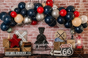 Jujuboo All Aboard Photography Backdrop