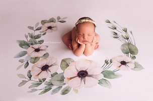 Jujuboo Blossom Wreath Floral Newborn Photography Backdrop