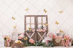 Jujuboo Golden Butterflies Photography Backdrop