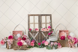 Jujuboo Hot Pink Flower Market Photography Backdrop