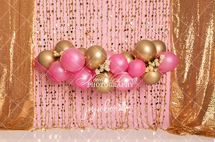 Jujuboo Pink and Gold Garland Photography Backdrop