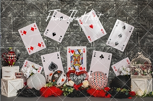 Jujuboo Queen of Hearts with Cards Photography Backdrop
