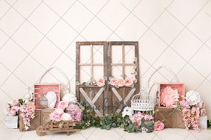 Jujuboo Soft Pink Flower Market Photography Backdrop