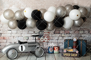 Jujuboo Vintage Racer Photography Backdrop