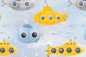 Jujuboo Yellow Submarine Photography Backdrop